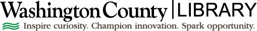 Washington County Library's logo and mission. Inspire curiosity. Champion innovation. Spark opportunity.