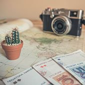 travel maps and camera