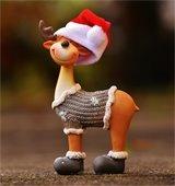 Reindeer toy in Santa hat