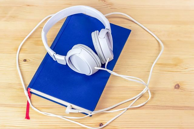headphones and a book