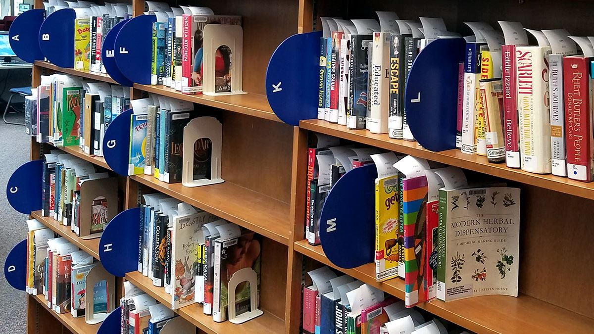 hold shelf at Park Grove library