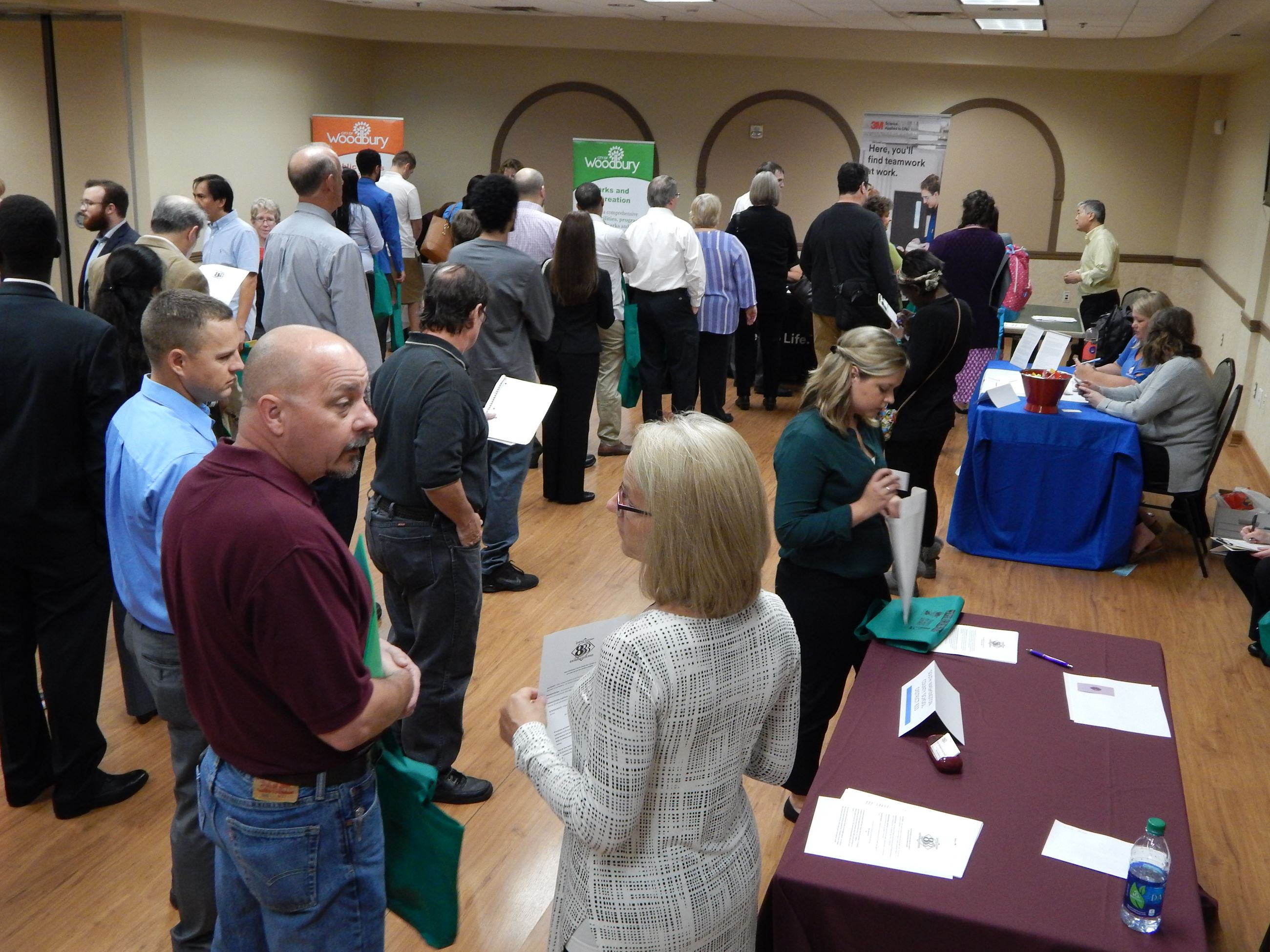 Jobseekers and employers at job fair