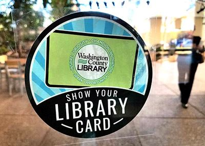Show Your Library Card logo as window cling