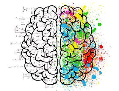 drawing of a brain with analytical and creative illustrations