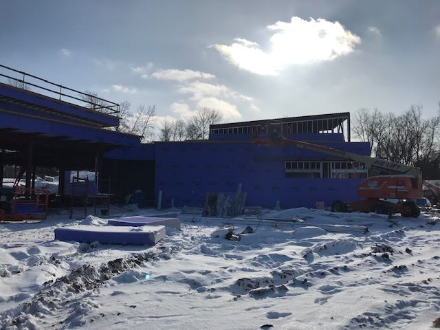 construction photo of the outside of Wildwood Library