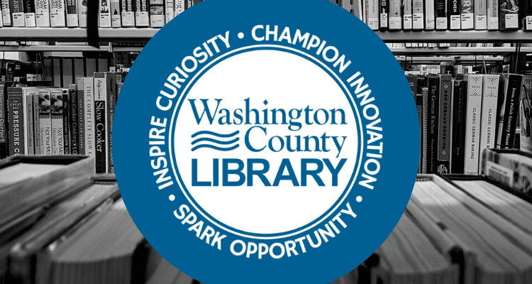 washington county library logo in front of books
