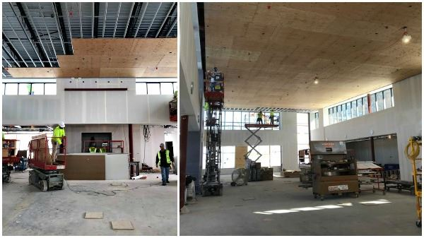 collage of ceiling work at wildwood library